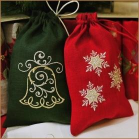 мешочки льняные для новогоднего подарка