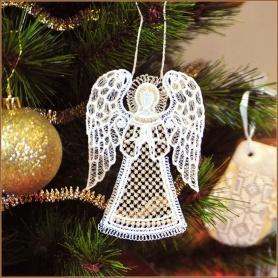 вышитая елочная игрушка ангел