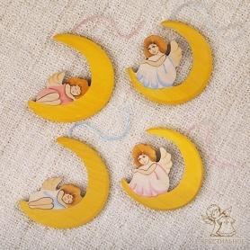 деревянные подвески ангелочки на луне