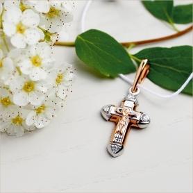 золотой освященный крестик с бриллиантами для крещения ребенка