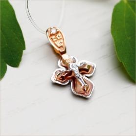 золотой освященный крестик с бриллиантами для крещения ребенка завод Аквамарин
