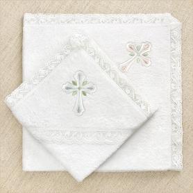 кружевное крестильное полотенце с вышивкой православного крестика для девочки