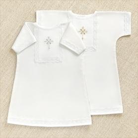 распашная теплая рубашка для крещения мальчика