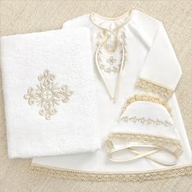 набор для крещения девочки 0-12 лет с большим махровым полотенцем
