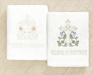 большое крестильное полотенце с вышитым крестом
