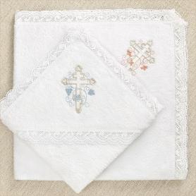 крестильные полотенца для девочки и мальчика с вышитым православным крестом