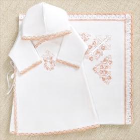 теплый крестильный набор для девочки с розовой вышивкой и кружевом