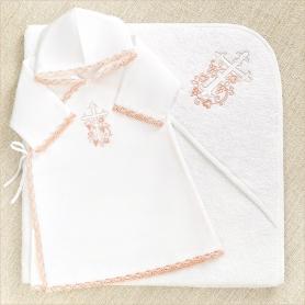 теплый крестильный набор для девочки с розовой отделкой