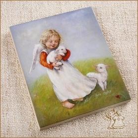 деревянное панно Ангел с овечками, Лида-студия