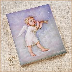 деревянное панно Ангел-мальчик с дудочкой, Лида-студия