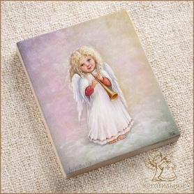 деревянное панно Ангел-девочка с дудочкой, Лида-студия