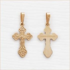 золотой крестик арт.10337 Аквамарин
