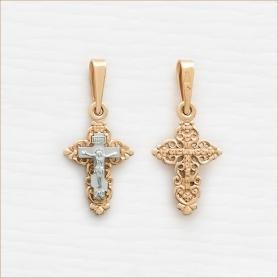 крестик из красного и белого золота арт.11154