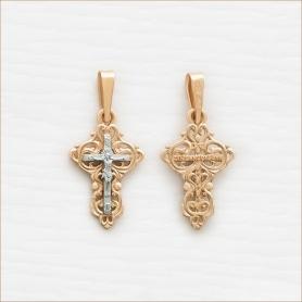 ажурный маленький крестик и комбинированного золота арт.11425