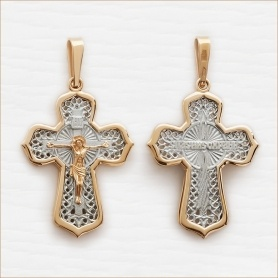 православный мужской крестик из золота арт.12694