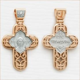 большой мужской крест из серебра под золото арт.12696