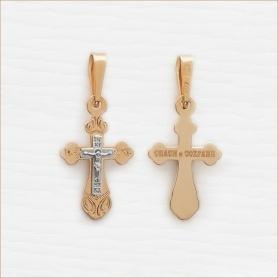 крест из комбинированного золота православный арт.12720