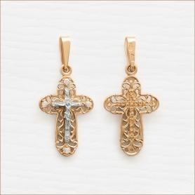 золотой крестик с фианитами и распятием из белого золота арт.20474