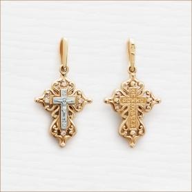 золотой объемный крестик с фианитами арт.20441