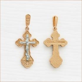 красивый золотой крестик комбинированное золото арт.35205