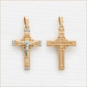 строгий православный крестик из золота с фианитами