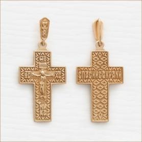 крестик из серебра с позолотой арт.35200