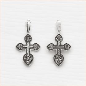 небольшой крестик из серебра с чернением арт.03045