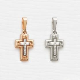 крестик строгой формы арт.12538 в красном и белом золоте