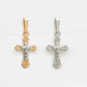 крестик 12715 в комбинированном и белом золоте