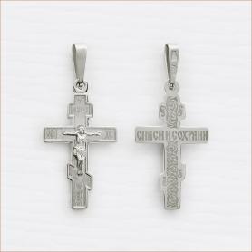 классический серебряный крестик для крещения арт.10219