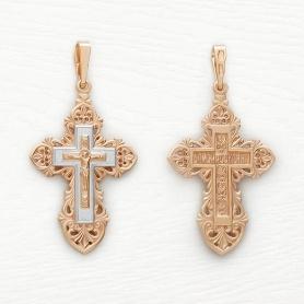 Крест из серебра с позолотой арт.10056
