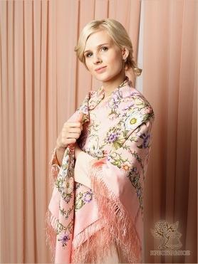 Платок «Цветущая весна» розовый