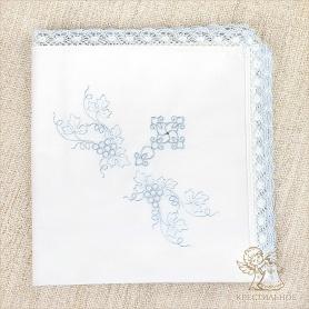 пеленка с голубым кружевом и вышивкой
