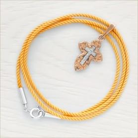 детский гайтан - шнурок для крестика желтый крученый шелк, замок - серебро 925