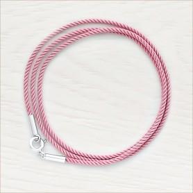 Гайтан С2 розовый из крученого шелка с серебряной застежкой