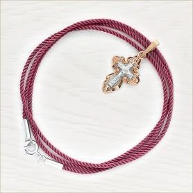 Гайтан шелковый С3 пыльная роза и золотой крест арт.12159