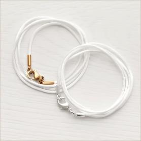 шелковый тонкий детский шнурок для крестика, цвет белый, длина 40-45 см