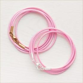 текстильный розовый шнурок универсальной толщины 2 мм для ношения крестика