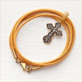 ювелирный текстильный шнурок с застежкой и позолоченный крестик небольшого размера 08078