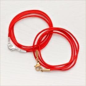 красные гайтаны из мягкого шелкового шнура с латунной застежкой, посеребренной или позолоченной, подходят детям