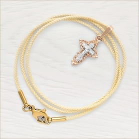 """гайтан """"слоновая кость"""" из мягкого нейлона с латунным позолоченным замком, крестик золотой 11154"""
