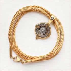 золотистый плетеный шнур 2,5 мм с позолоченной застежкой