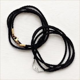 черные витые шнуры с застежками из латуни для ношения православных ювелирных изделий
