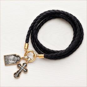 кожаный мужской гайтан с застежкой-кольцом для крестика и образка