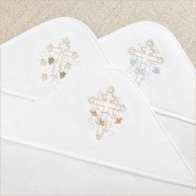 капюшоны махровых уголков для крещения - 3 цвета крестиков