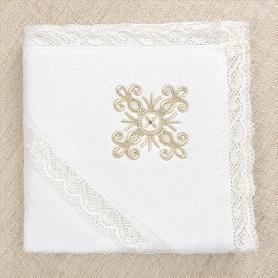 полотенце с капюшоном, золотым кружевом и вышивкой для крещения ребенка