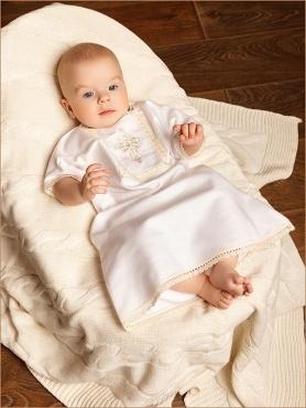 фланелевая крестильная рубашечка с бежевым кружевом и крестиком