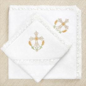 """Кружевное крестильное полотенце """"Крест в колосьях"""""""