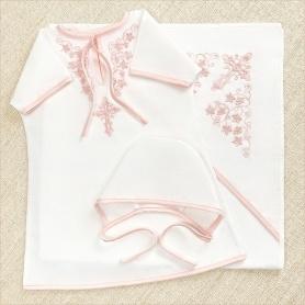 недорогой крестильный набор с розовой вышивкой