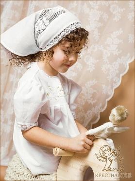 девочка 5 лет в крестильном платье Ксения и нарядной косынке